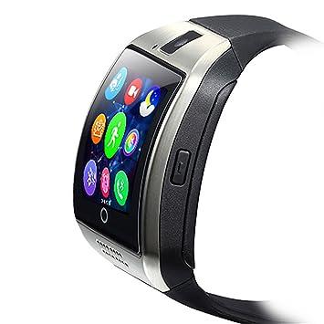 ZOMTOP Q18 Smart Watch teléfono Bluetooth cámara SIM TF Tarjeta SmartWatch para Android Samsung LG Google Pixel y iPhone 7 7Plus 6 6S 6S Plus (Plata)