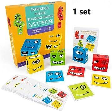 QSAA Cubo Que Cambia la Cara, Juguete de Cubo de interacción con Bloques de Madera, Rompecabezas de expresión Divertido Colorido para el Pensamiento lógico de los niños: Amazon.es: Juguetes y juegos