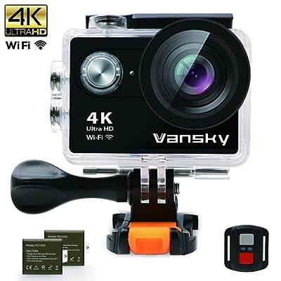 Caméra D'action Sportive, Vansky® Caméra étanche 4K Action 12M Ultra HD Caméra Wi-Fi Sport Cam 30M avec écran LCD 2.0 pouces Angle de vue 170 ° / Télécommande 2.4G / 2