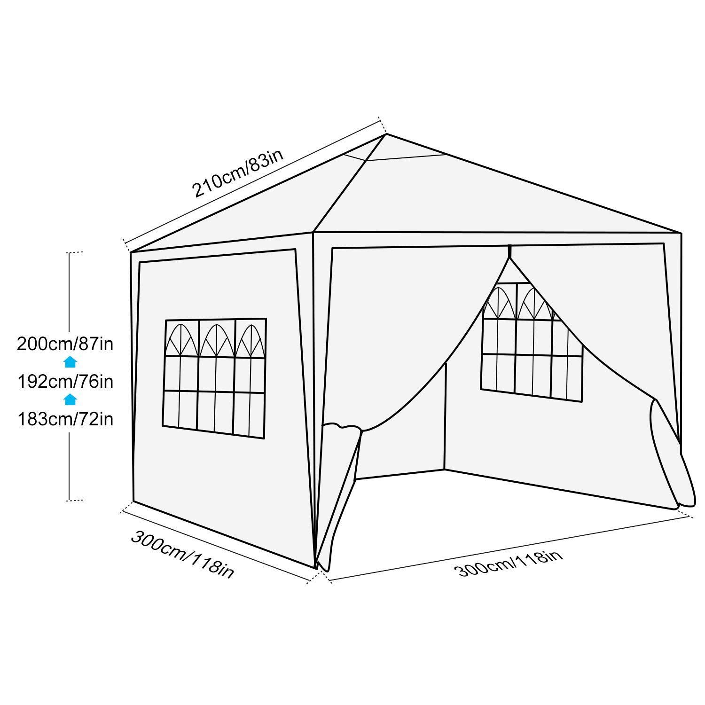 Rivestimento in PVC,Gazebo per Feste Tour Impermeabile Hiriyt Gazebo Pieghevole da 3m x 3m,Tenda da Giardino Pieghevole//Retrattile 3x3 Blu Picnic