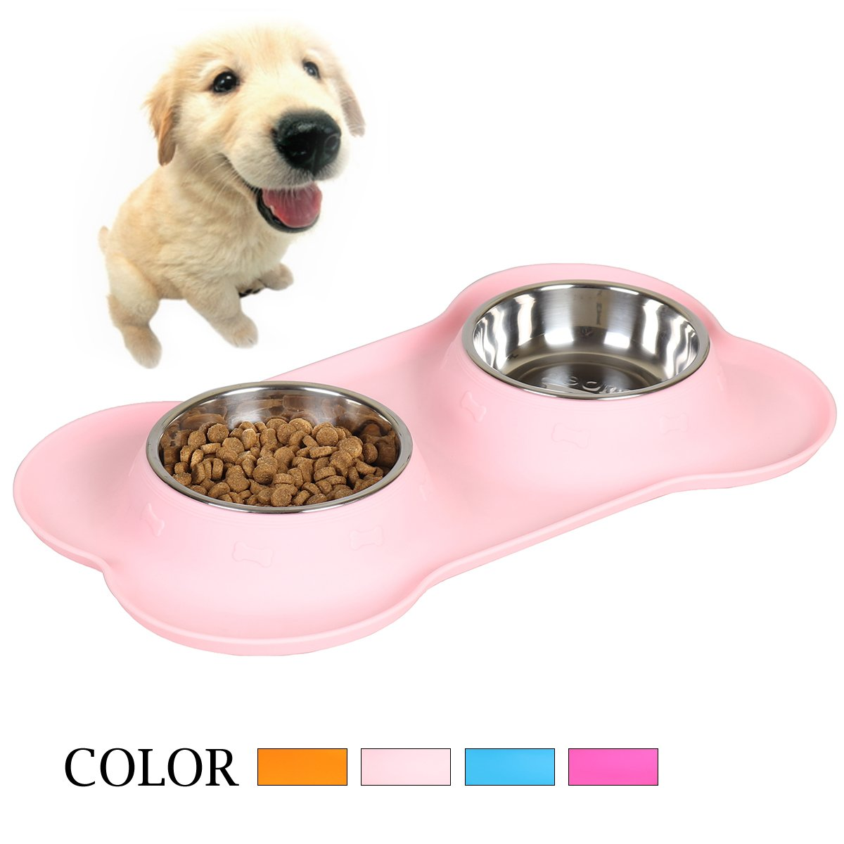 Goetland Stainless Steel Double Dog Water and Food Bowls with Non-Skid No Spill Food Grade Bone Shape Silicone Stand Pink 1 Cup
