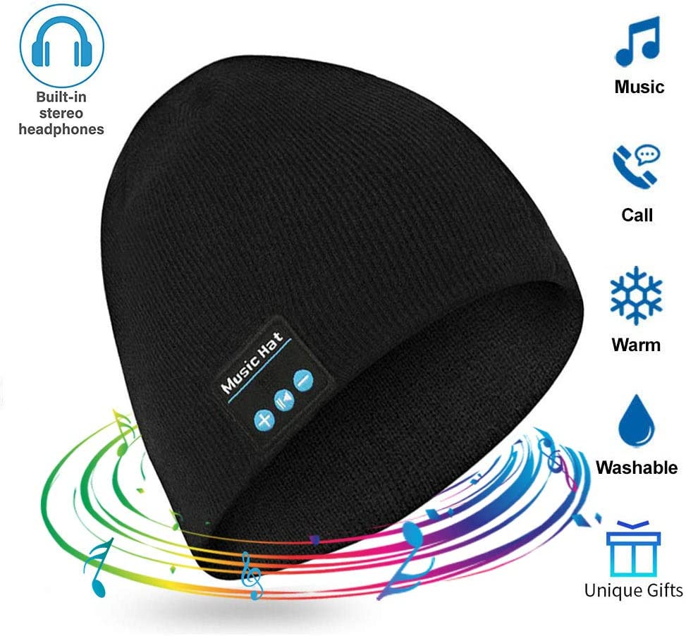 Wireless Beanie Hat Wireless Beanie with Headphones Smart Beanie with Headset Musical Knit Hat Cap with Earphones Speakers Hands-Free, Unique Christmas Gift for Men Women