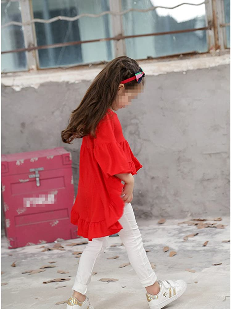 VERYCO Kids Girls Long Sleeve Shirts Irregular High-Low Bell Sleeve Blouse Dress Tops