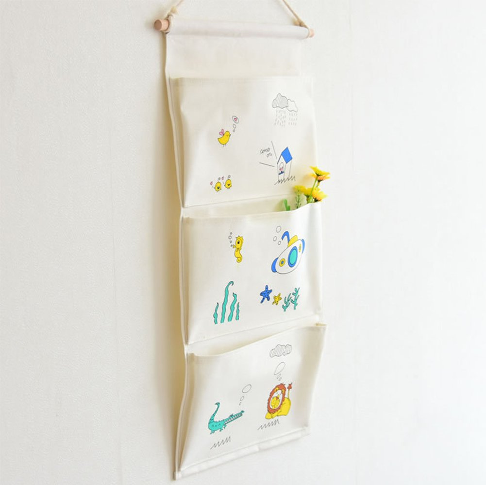 Yiuswoy Over The Door Organizer With 3 Pockets Cute Patterns Linen Cotton Fabric Wall Office Home Organizers and Storage Bag - Lion by Yiuswoy (Image #2)