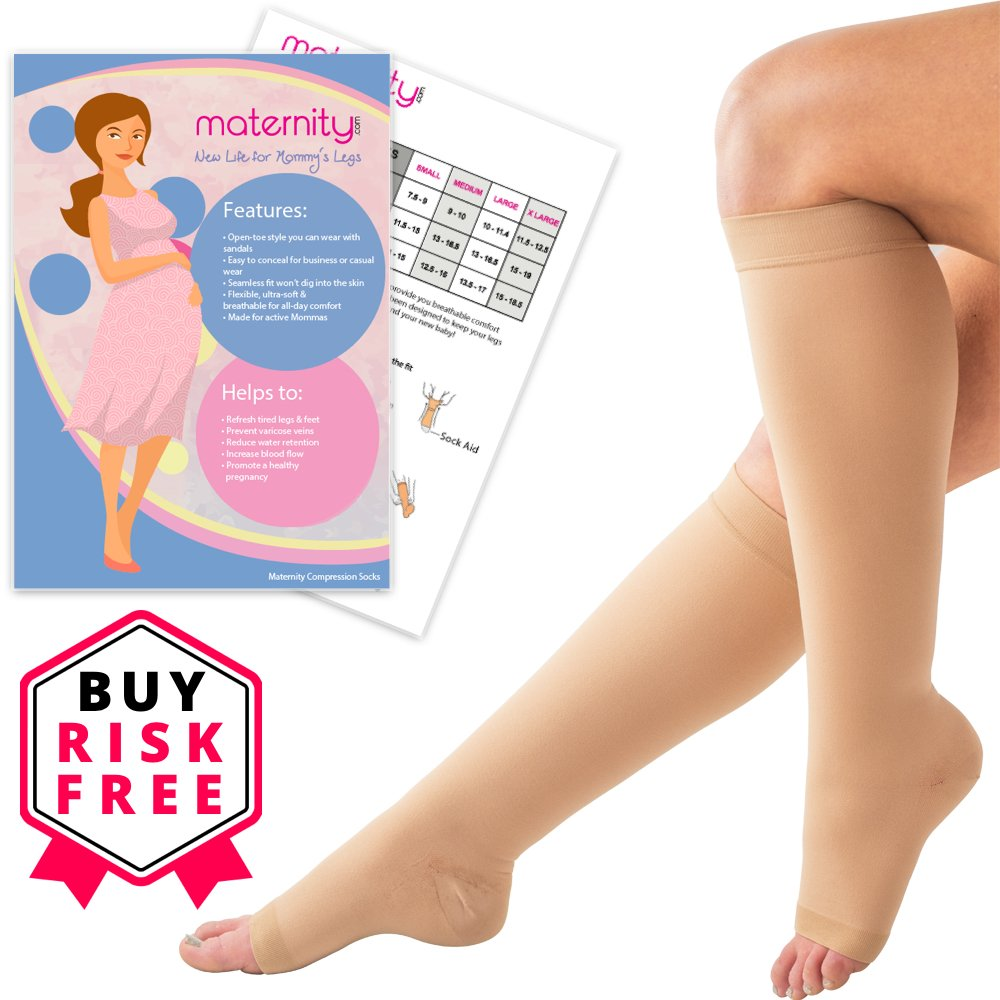 Maternity Compression Socks - Improve Circulation - Reduce Swollenness - Maternity Compression Stockings for Mothers - Wear with Anything - Knee High Compression Stockings with Compression Sock Aid by Maternity