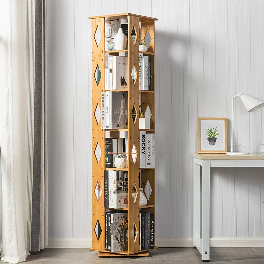 DULPLAY 360° Giratorio Bambú Biblioteca, 6 Niveles Estante Ajustable Estrecha Moderno Multi-Capa Repisa Escalera Estantería Decorativa Suelo Simple Niños Estudiantes-A 37x37x173cm(15x15x68inch): Amazon.es: Hogar