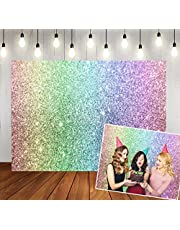 WOLADA 7x5ft Rainbow Bokeh Birthday Backdrop Sand Scale Halo Still Life Dreamy Baby Kids Girl Birthday Party Shower Photography Backdrop(No Glitter) Cake Table Banner Photo Studio Props 11600