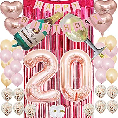 20 Party Supplies Rose Gold 20th Birthday Decorations for Women and Girls with Happy Birthday Banner and Digit Balloons Including Latex and Confetti Balloons