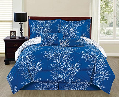 SALLY TEXTILES Camilla Comforter Set, King, Royal Blue