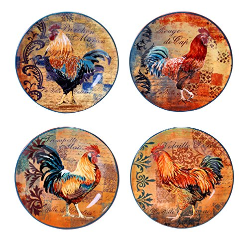 Certified International Rustic Rooster Salad/Dessert Plate, 8.75-Inch, Multicolor, Set of 4
