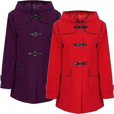 820ddf9183a8e PU Clasp Hooded Long Duffle Coat Plus Size  Amazon.co.uk  Clothing