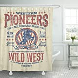 TOMPOP Shower Curtain Cowboy Western Pioneers Rodeo Effect in Separate Layer America Waterproof Polyester Fabric 72 x 78 Inches Set with Hooks