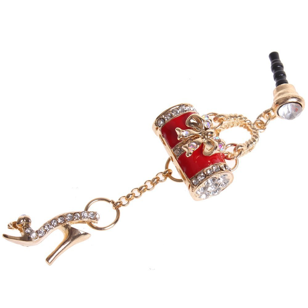 Wisedeal Colorful Bling Crystal 3.5mm Rhinestones Handbag Shoe Pattern Cellphone Charms Anti-Dust Dustproof Earphone Audio Headphone Jack Plug Stopper for iPhone 4 4S Samsung Galaxy S2 S3 Note HTC (Red)