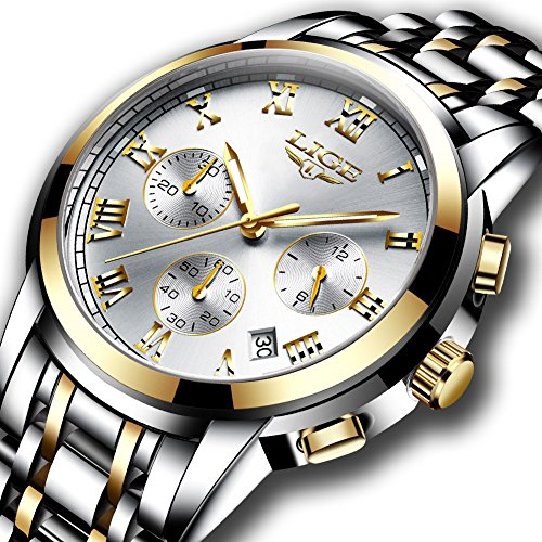 Watches Mens Full Steel Quartz Analog Wrist Watch Men Luxury Brand LIGE Waterproof Date Business ()