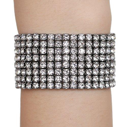 BILONG Jewelry Gun Black Bridal Bangle Bracelet with Sparkling Crystal Rhinestones