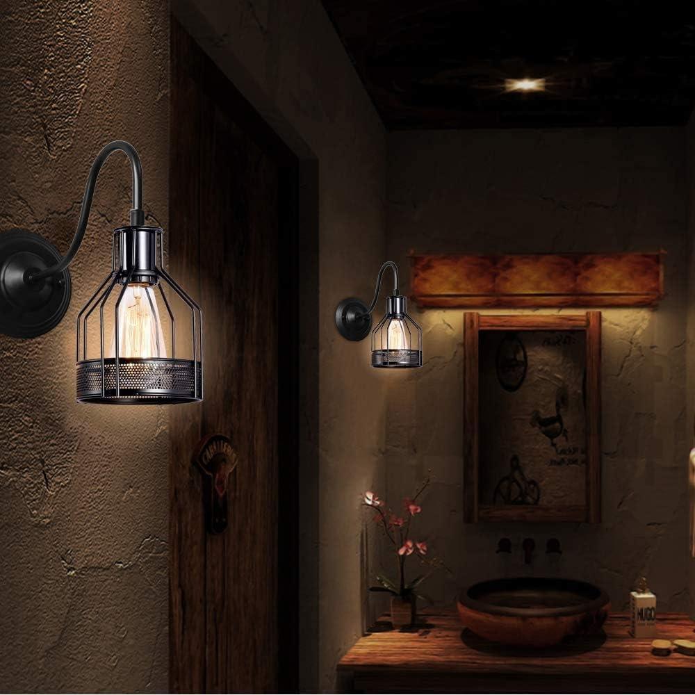 Lot de 2 Applique Murale Industrielle iDEGU Lampe Murale Vintage Design R/étro Noir Lumi/ère Abat-jour Cage /à Filet en M/étal E27 /Éclairage Plafonnier Luminaire Int/érieure D/écoration pour Salon 15cm