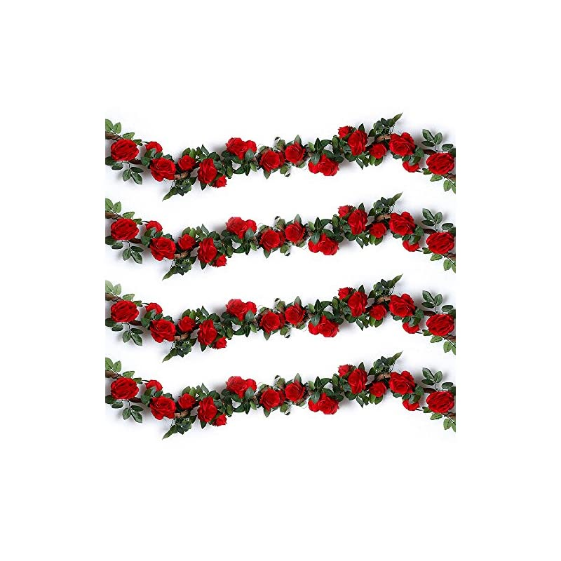 silk flower arrangements yiliyajia artificial garlands decorative rose vines: 4pcs (28ft) silk roses hanging plants greenery for wedding party home arrangement decoration (red)