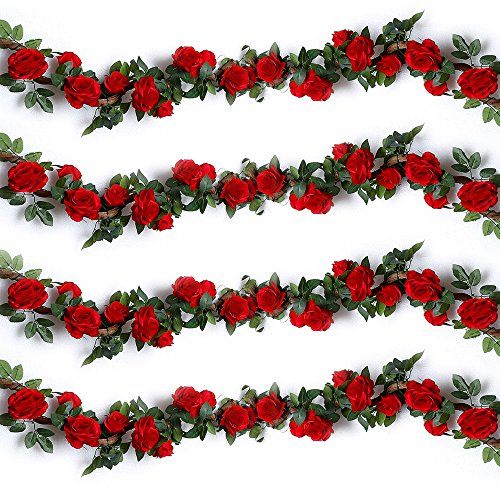 YILIYAJIA 4PCS(28.8 FT) Artificial Rose Vines Fake Silk Flowers Rose Garlands Hanging Rose Ivy Plants for Wedding Home Office Arch Arrangement Decoration (red) Red Floral Arrangement