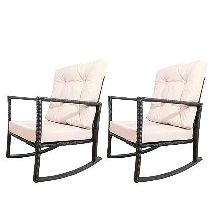 Amazon Com Yardeen 2 Pcs Patio Rocking Chair Rattan Wicker Rocker