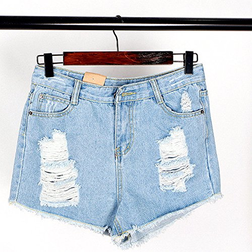 - 2018 New Hole Trousers Ladies Casual Grinding Worn Fashion Shorts a Generation of Women,Light Blue,S