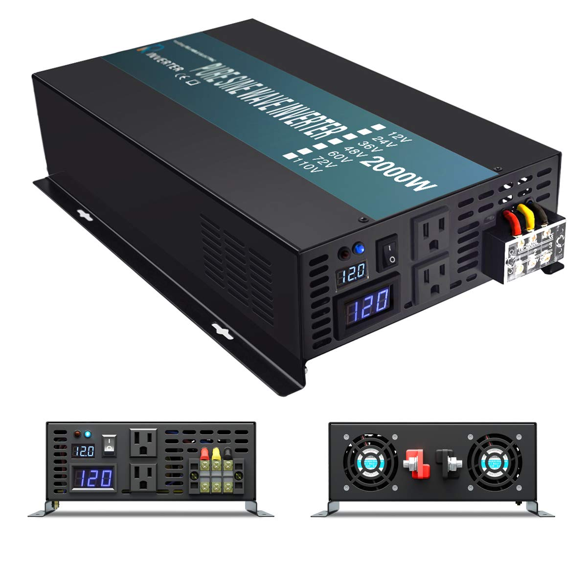 WZRELB Reliable 2000W Pure Sine Wave Inverter 12v 120v 60hz LED Display Solar Power Inverter Black