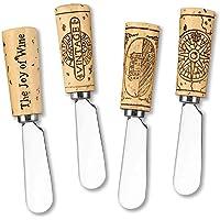 Vintage Wine Cork Resin Cheese Spreaders, 5 inch, Brown (Set of 4)