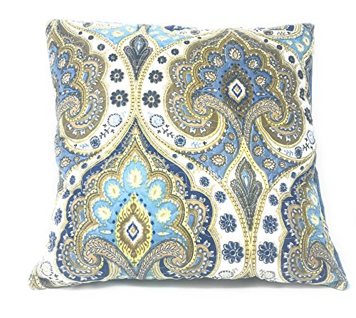 Tache Home Fashion Set of Two Spades Square Pillow Accent Cushion Covers Cases - Bright Vibrant Multi Colorful Olive Green Navy Blue Floral Print - 18
