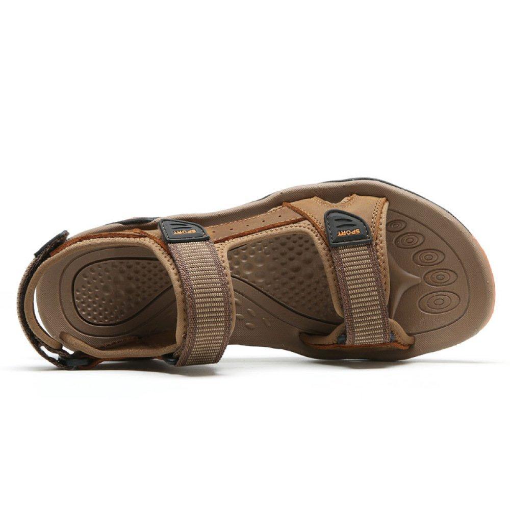 LYZGF Herren Jugend Casual Leder Open-Toe Sandalen Mode Strand Leder Casual Outdoor-Hausschuhe Braun 60798a