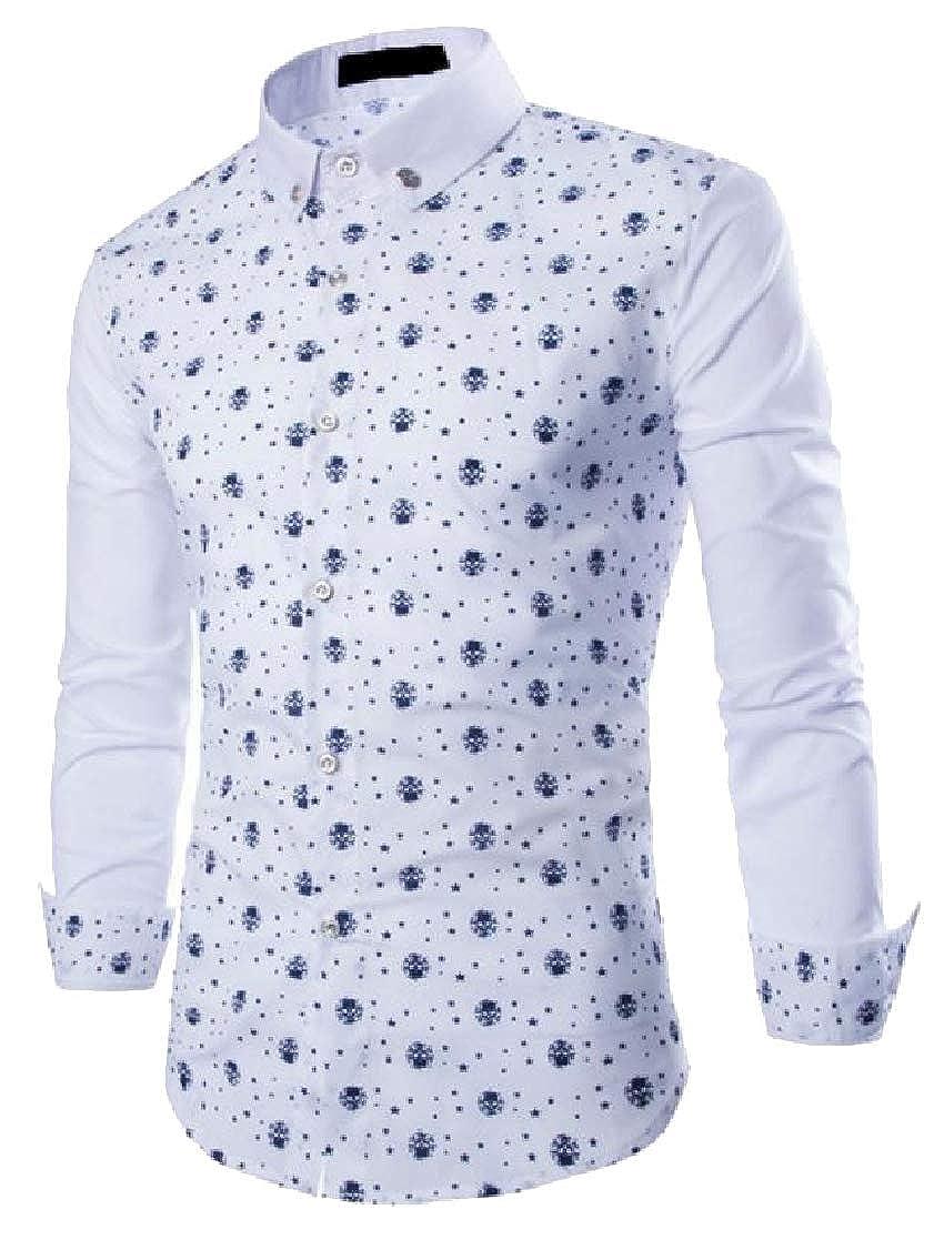 Macondoo Mens Button Front Long Sleeve Star Print Slim Fit Skull Shirts