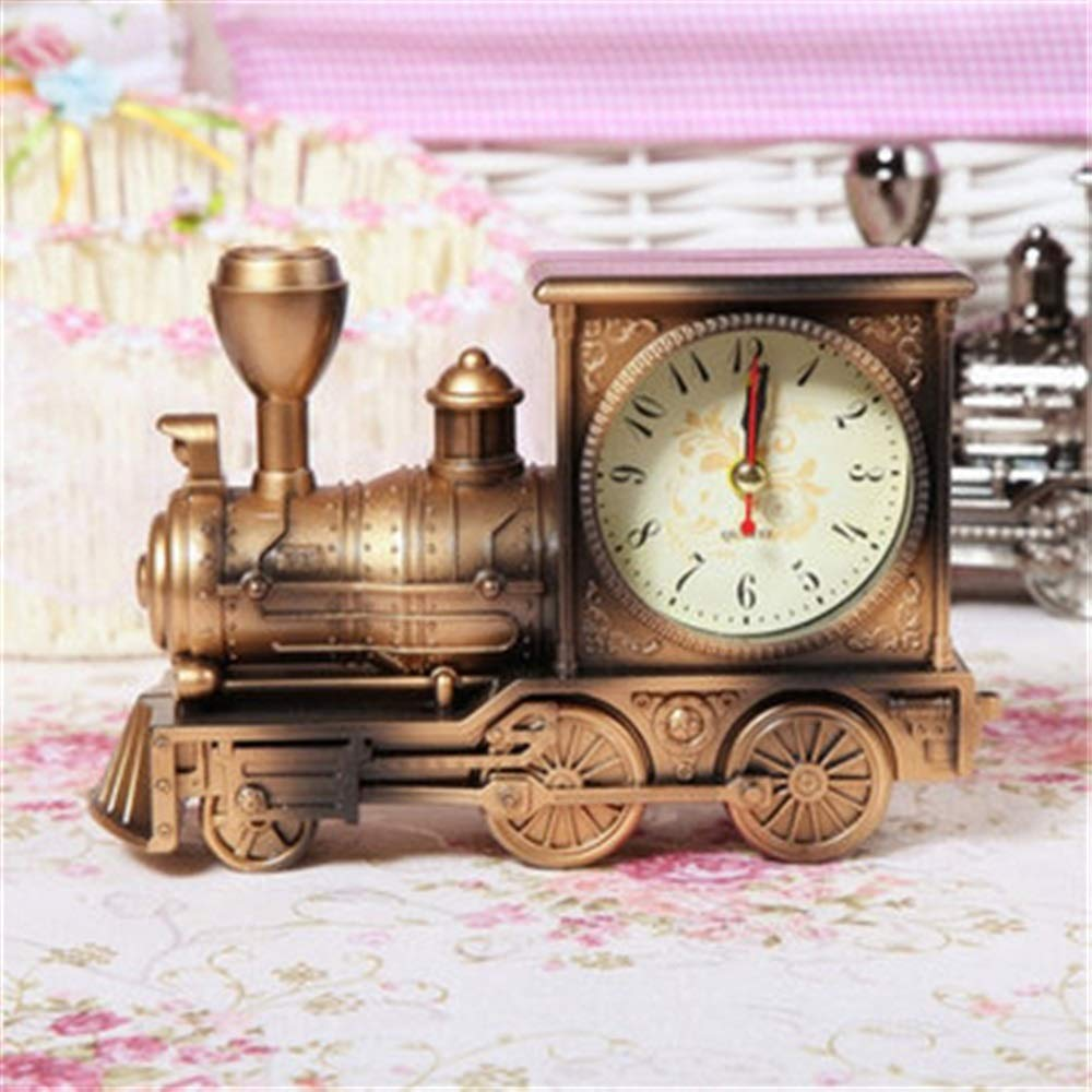 Tuersuer Warm and Beautiful Retro Train Alarm Clock,Retro Train Style Alarm Clock Children Gift Table Desk Quartz Alarm Clock