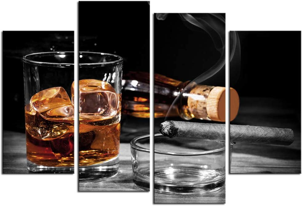 sechars - Canvas Prints Wall Art Whisky Cigar Picture Poster Print for Modern Home Kitchen Bar Pub Western Decor Still Life Painting Art with Wood Frame Ready to Hang