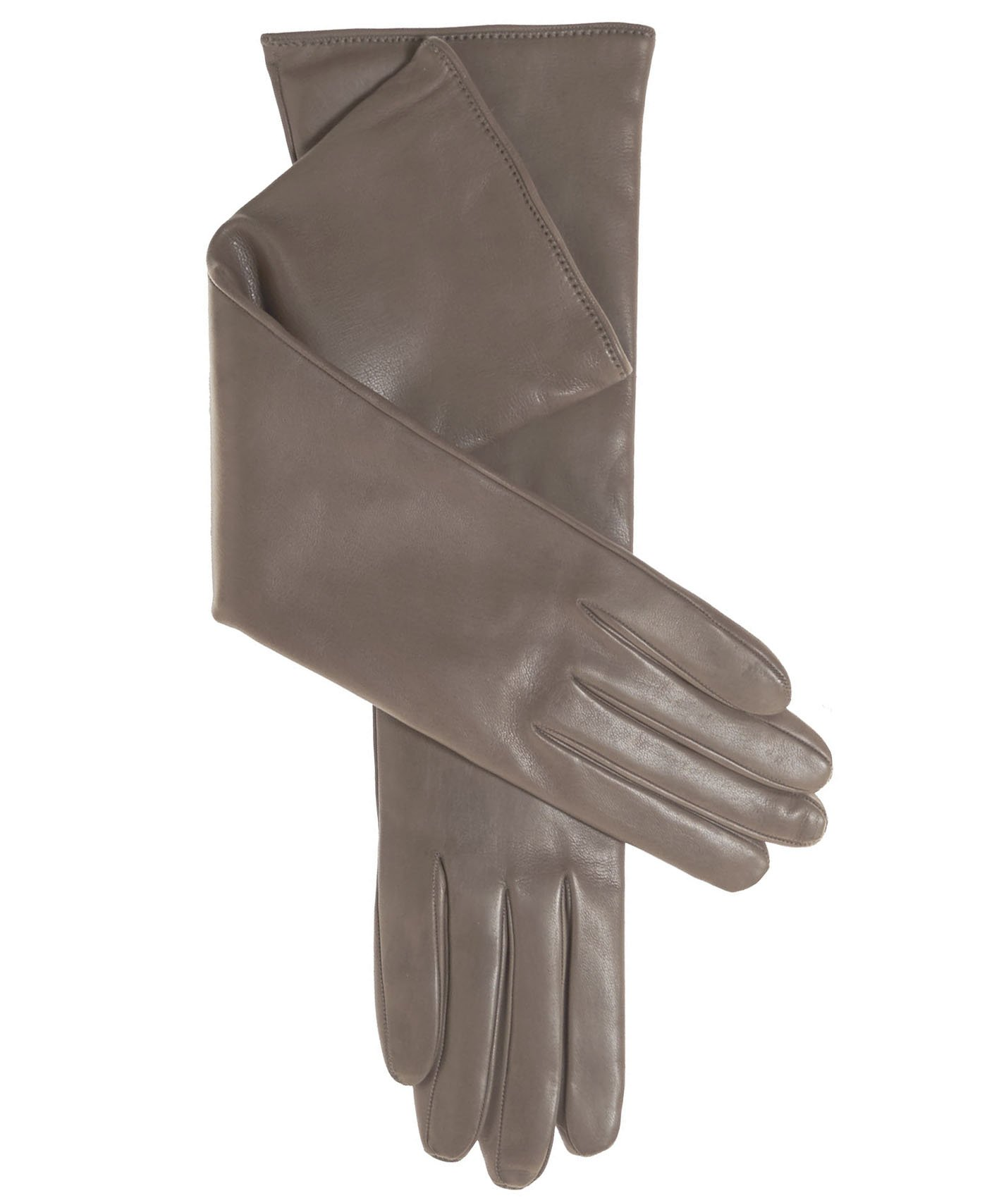 Fratelli Orsini Women's Italian''8 Button Length'' Cashmere Lined Leather Gloves Size 7 1/2 Color Taupe
