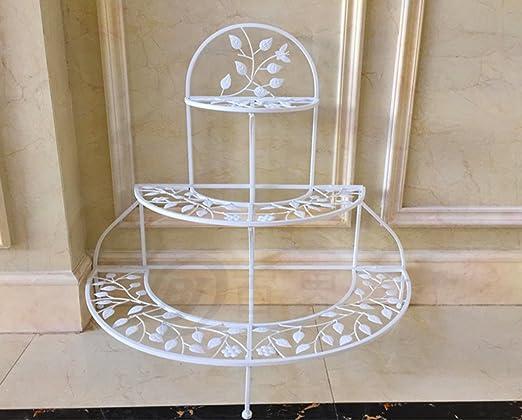 GAPHUAJIA CYJZ® Armarios de flores, Plancha Terraza balcón cubierta Escalera de varias capas Estilo de suelo pliegue Estante de flor 94 × 84cm Resistente a la corrosión (Color : Blanco): Amazon.es: Hogar