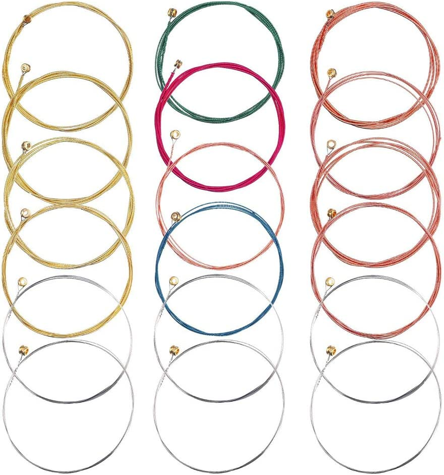 9 Sets of 6 Acoustic Guitar Strings, DIY Guitar Strings Replacement Steel String for Guitarist/Beginners/Performers (3 Brass Set,3 Red Copper Set, 3 Multicolor Set)