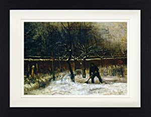 1art1 Vincent Van Gogh Framed Collector Poster - The Parsonage Garden of Nuenen in The Snow, 1885 (16 x 12 inches)