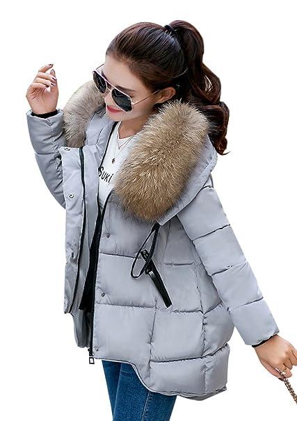 YOUJIA Mujer Casual Espesar Cálido Invierno Abrigo Acolchado Chaquetas con Capucha de Piel Sintética (Gris