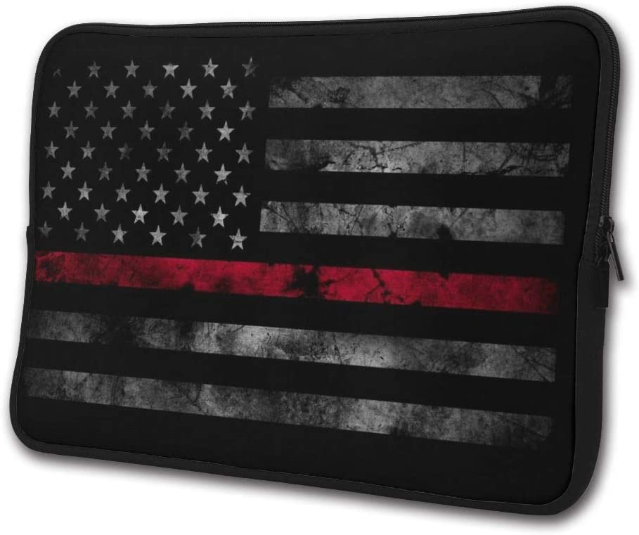 Yongchuang Feng Thin Red Line Firefighter Flag Sleeve Laptop Bag Tablet Case Handbag Notebook Messenger Bag for Ipad Air MacBook Pro Computer Ultrabook 13-15 Inches