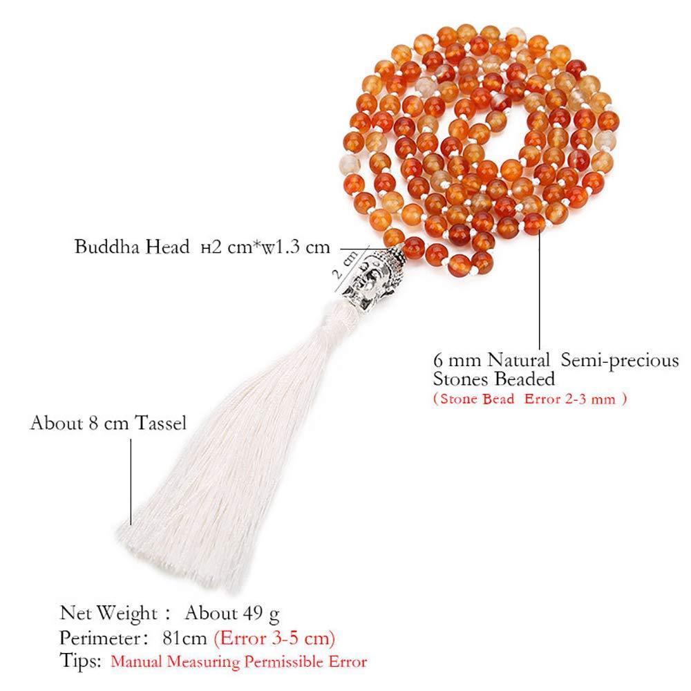VEINTI+1 Bohemia Style 6//8mm 108 Agate Beads with Buddha Head Tassles Pendant Womens Long Necklace Chain