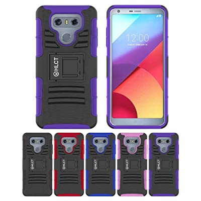 LG G6 Stand Case, HLCT Rugged Shock Proof Dual-Layer Case with Built-in Kickstand for LG G6 (Purple)
