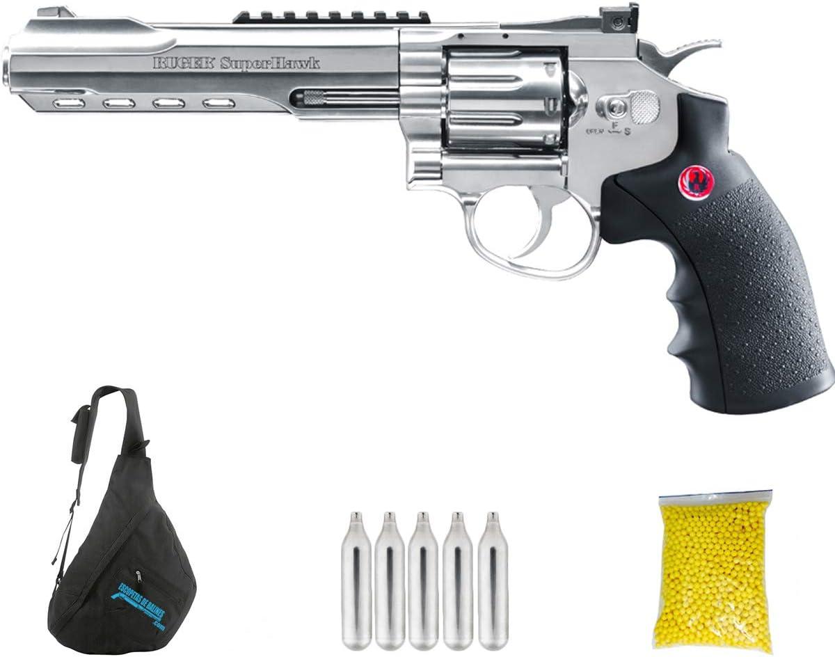 RUGER SUPERHAWK CHROME 6″ | Pack Pistola de balines (perdigones o Bolas de Acero BB's). Arma de Aire comprimido.CO2. Calibre 6mm. 3 Julios.