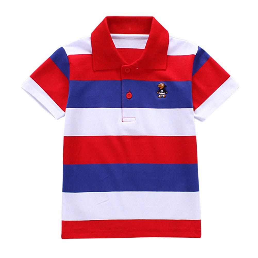 Blaward Bimbo Polo a Righe Manica Corta Ragazzi T-Shirt Polo Uniforme Bimbi Bambini Estivo