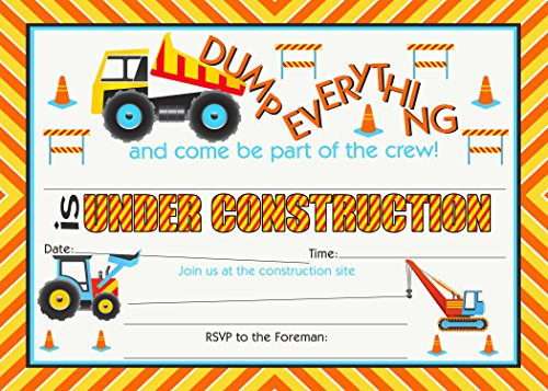POP parties Construction Party LARGE Invitations - 20 Invitations + 20 Envelopes -