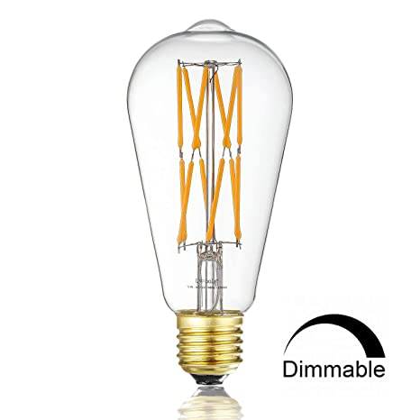 Leools 12w Dimmable Led Edison Bulb 100 Watt Equivalent Light Bulbs St64 Style Vintage Led Filament Light Warm Golw 2200k 1000lm E26 Medium Base