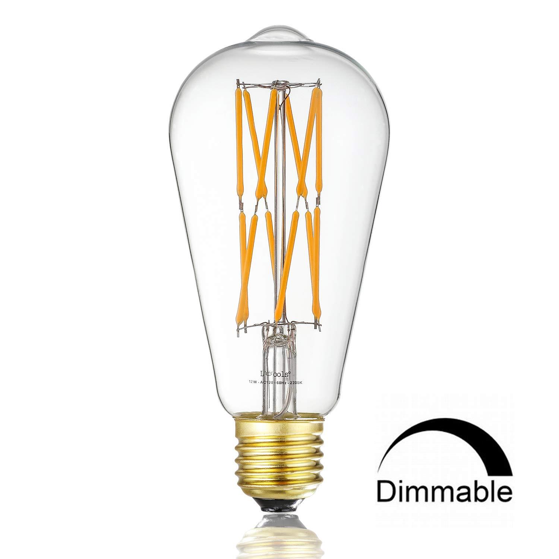 Leools 12W Dimmable Led Edison Bulb,100 Watt Equivalent Light Bulbs,ST64 Style Vintage LED Filament Light,Warm Golw 2200K,1000LM, E26 Medium Base Lamp, Antique Shape, (1 Pack)