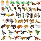 ANPHSIN 54Pcs Small Realistic Animal Figures - Different Varieties of Animal Toys Set, Educational Toys Party Favors For Kids Toddler(Sea Animal+ Jungle Animal+ Dinosaurs + Insects)