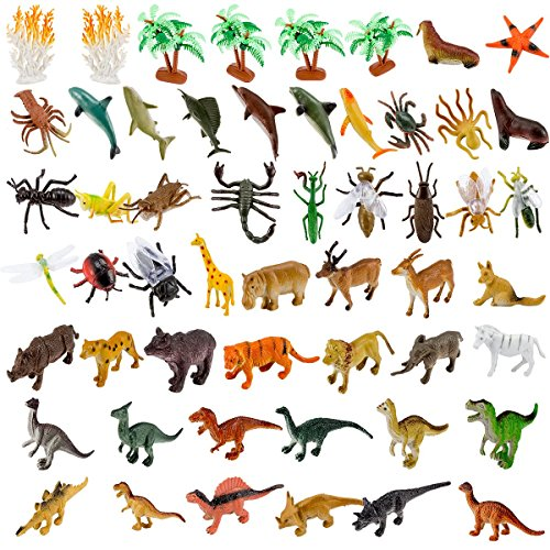 ANPHSIN 54Pcs Small Realistic Animal Figures - Different Varieties of Animal Toys Set, Educational Toys Party Favors For Kids Toddler(Sea Animal+ Jungle Animal+ Dinosaurs + Insects) by ANPHSIN