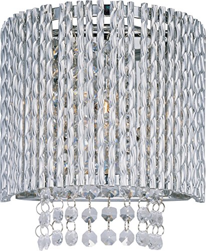 - ET2 E23130-10PC Spiral 1-Light Wall Sconce, Polished Chrome Finish, Glass, G9 Xenon Bulb, 7.5W Max., Dry Safety Rated, 2900K Color Temp., Low-Voltage Electronic Dimmer, Vinyl Shade Material, 750 Rated Lumens