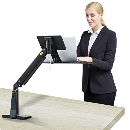 Astonishing North Bayou Sit Stand Laptop Desk Mount Arm Height Adjustable Stand Up Workstation For 11 To 17 Inch Notebook Black Home Interior And Landscaping Synyenasavecom