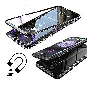 Funda Samsung Galaxy S9 Plus, [Adsorción Magnética] Marco de Metal Carcasa de Teléfono Parachoque Imanes Incorporados con Cubierta Dura de Trasera de ...