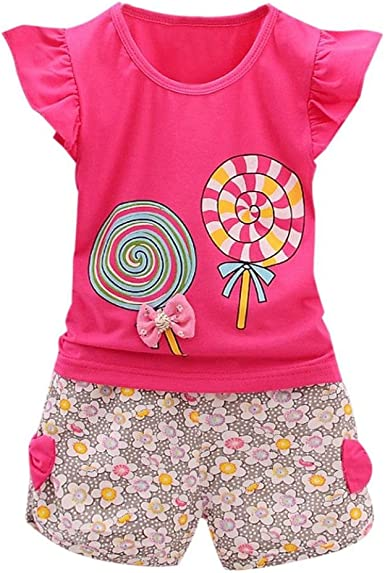 Fashion Kids Girls Bow Pattern Shirt Tops Blouse Grid Short Pants Set Clothing